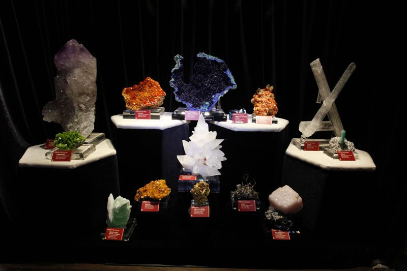This display of fine mineral specimens is from the China Crystalline Treasures Collection currently on exhibit at the University of Arizona's Flandrau Science Center