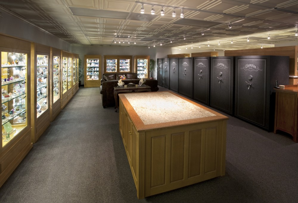 The Arkenstone Dallas Gallery contains dozens of wall-to-wall display cases for fine mineral specimens.