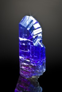 A bright tanzanite specimen from Merelani Hills, Tanzania. Shot by Joe Budd.