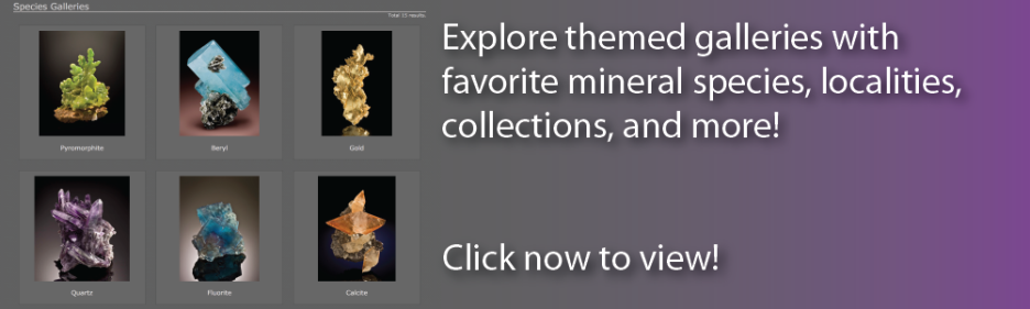 Visit themed galleries at The Arkenstone to browse minerals by favorite species, locality, collection, and more! Also view thumbnail mineral galleries, fluorescent mineral galleries, and others.