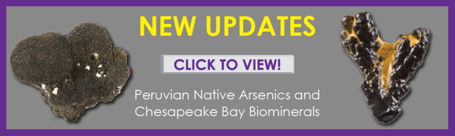 The Arkenstone has unique Peruvian native arsenic fine minerals and unusual biominerals from Chesapeake Bay available for sale.