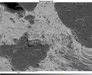 A scanning electron microscope image of limonite shows both rounded quartz grains (darker grey) and fine-grained platy clay minerals.