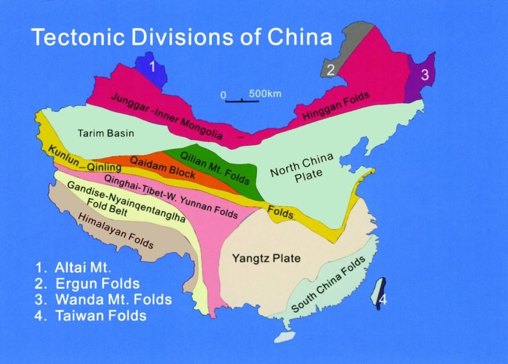 Tectonic Divisions of China - Yangtzi Plate, South China Folds, North China Plate, Himalayan Folds