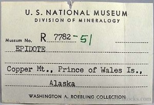 Old mineral labels add history and context to pieces.