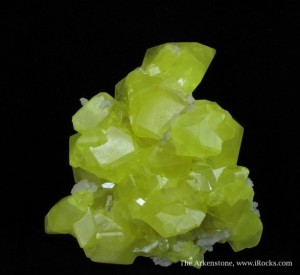 Bright yellow crystals like this sulfur are made more valuable if they have provenance.