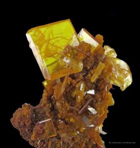 Fine crystal of wulfenite on mimetite from San Francisco Mine, Durango, Mexico.