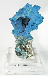 Geodes can be made of many different minerals and crystals. Most geodes are quartz, but exceptional pieces have rare crystals like this shattuckite.