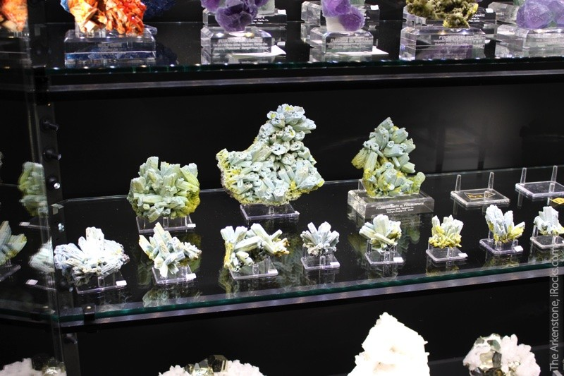 Unusual rare minerals, like these plumbogummite after pyromorphite, and other species like amethyst, fluorite, and calcite, can all be found from The Arkenstone at fine mineral shows worldwide.