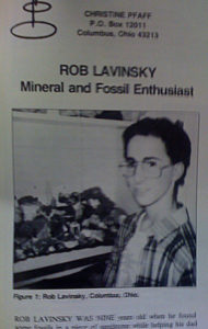 "A young Rob Lavinsky appeared in Chris Pfaff's ""Mineral and Fossil Enthusiast"" publication."