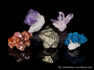Assemblage of fine minerals and crystals - thumbnail sized minerals