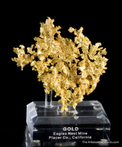 Gold specimen from California on a custom lucite base