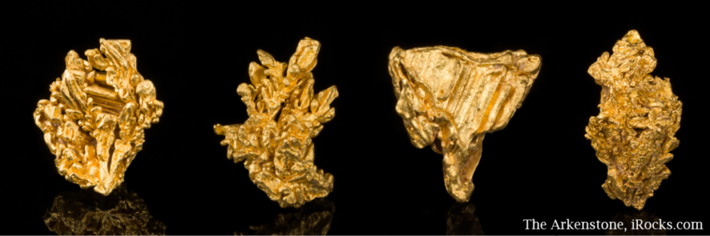 Several gold crystals from Brazil