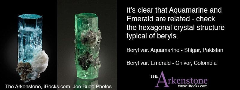 The beryl species involves many different minerals - aquamarine, emerald, morganite, red emerald, and more are all from the same family.