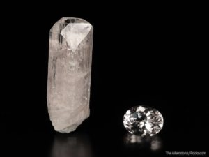 This rare combo of rough danburite crystal and cut stone from Mexico shows the beauty of natural crystals and gem.