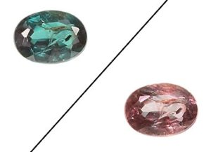 Alexandrite gemstone in different lighting - pink and blue coloring