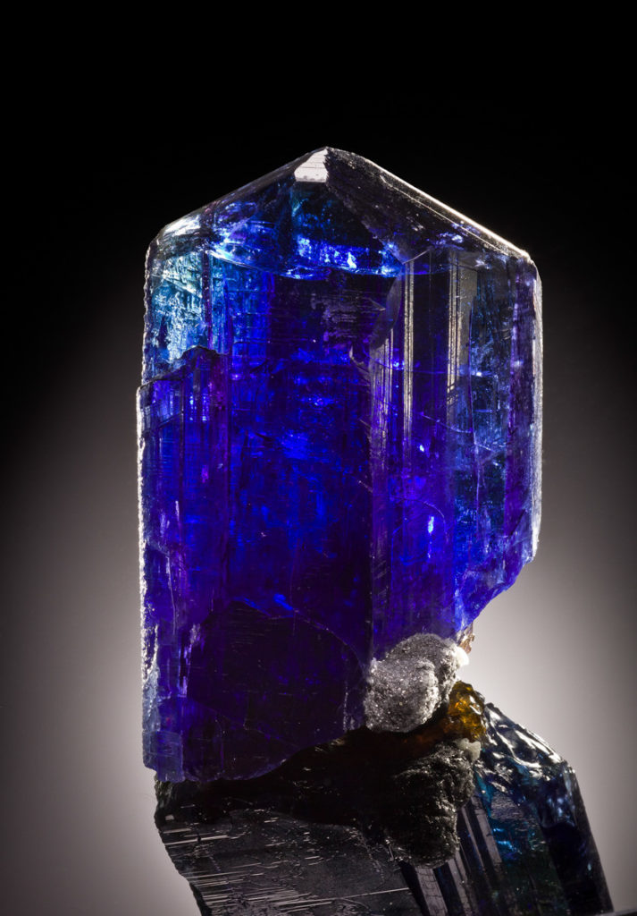 Blue Tanzanite Crystal. Copyright The Arkenstone, iRocks.com. Joe Budd Photo