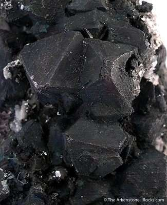 Numerous SHARP crystals matte black octahedral galena 1 2 cm length