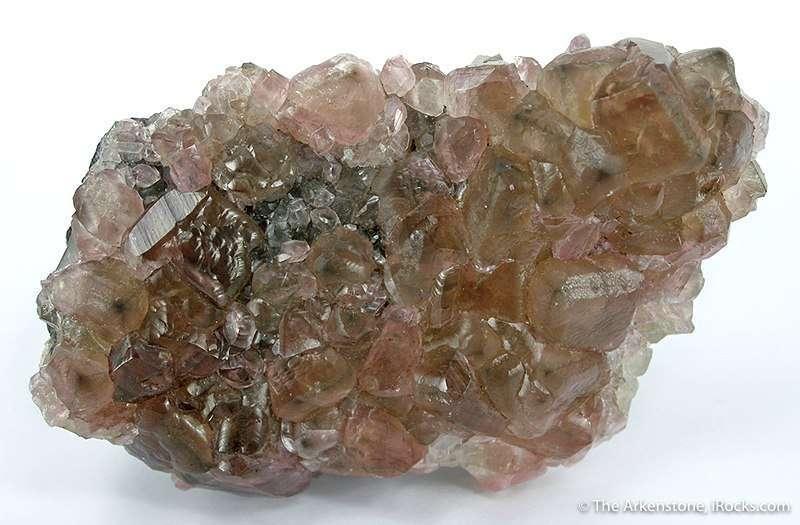 Intergrown lustrous translucent crystals smoky pink smithsonite 1 0 cm