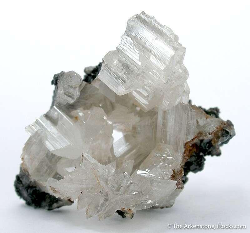 Perched sliver contrasting matrix specimen colorless gemmy glassy