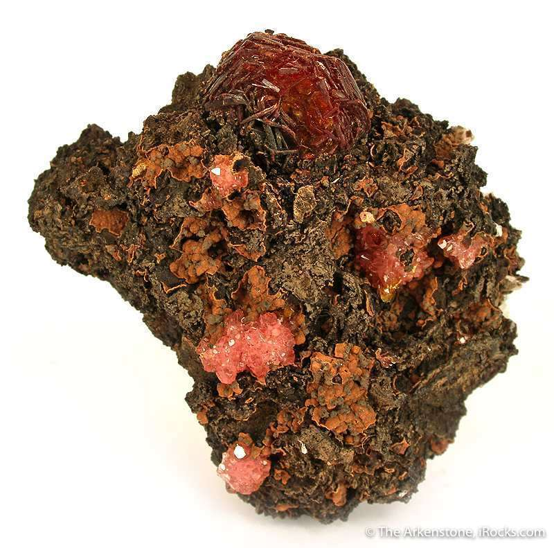 This specimen impressively large wine red crystals rare manganese