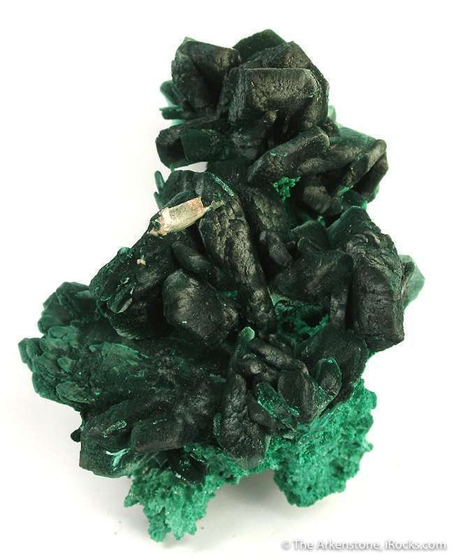 A sharp piece crystals 2 2 cm cluster perched matrix infused malachite