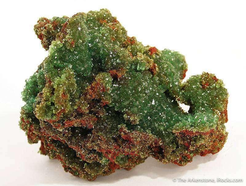 A sparkling gemmy drusy crust intergrown cuproadamite crystals
