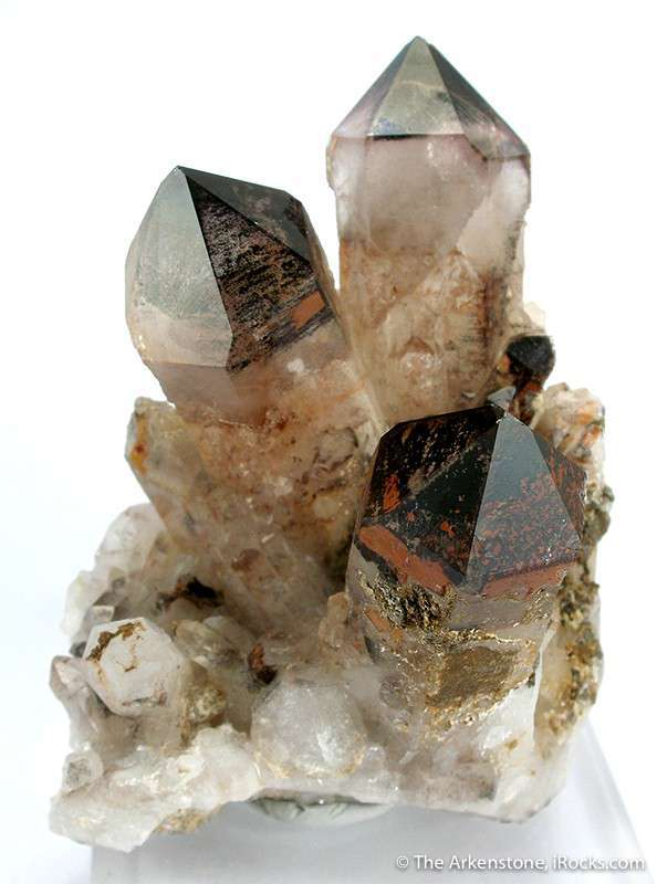 Three diverging glassy quartz crystals 7 0 cm length generally