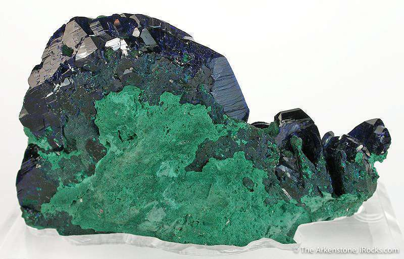 A razor sharp lustrous wet looking 2 inch long azurite crystal