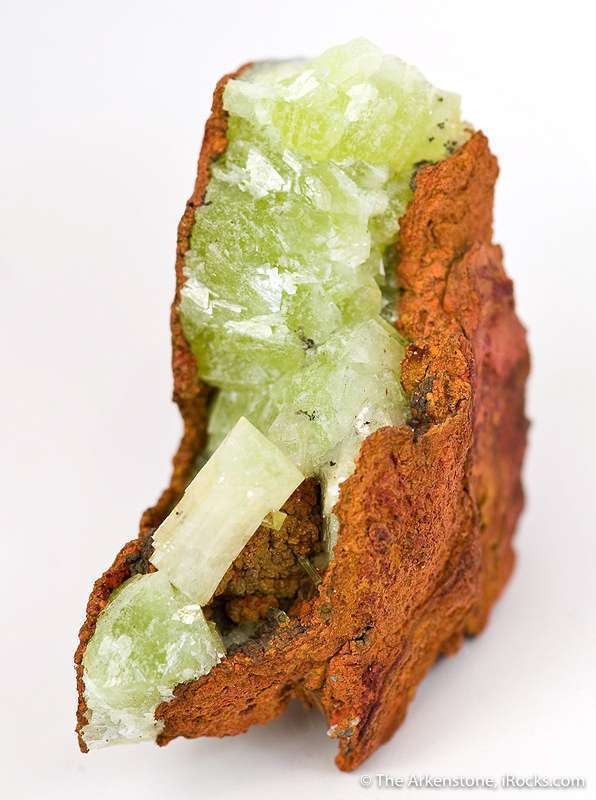 Nestled vug limonite crystals 1 5 cm length glassy gemmy lime colored