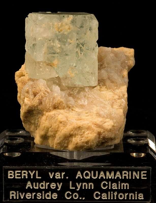 A rare specimen consisting matrix aquamarine small pegmatite The