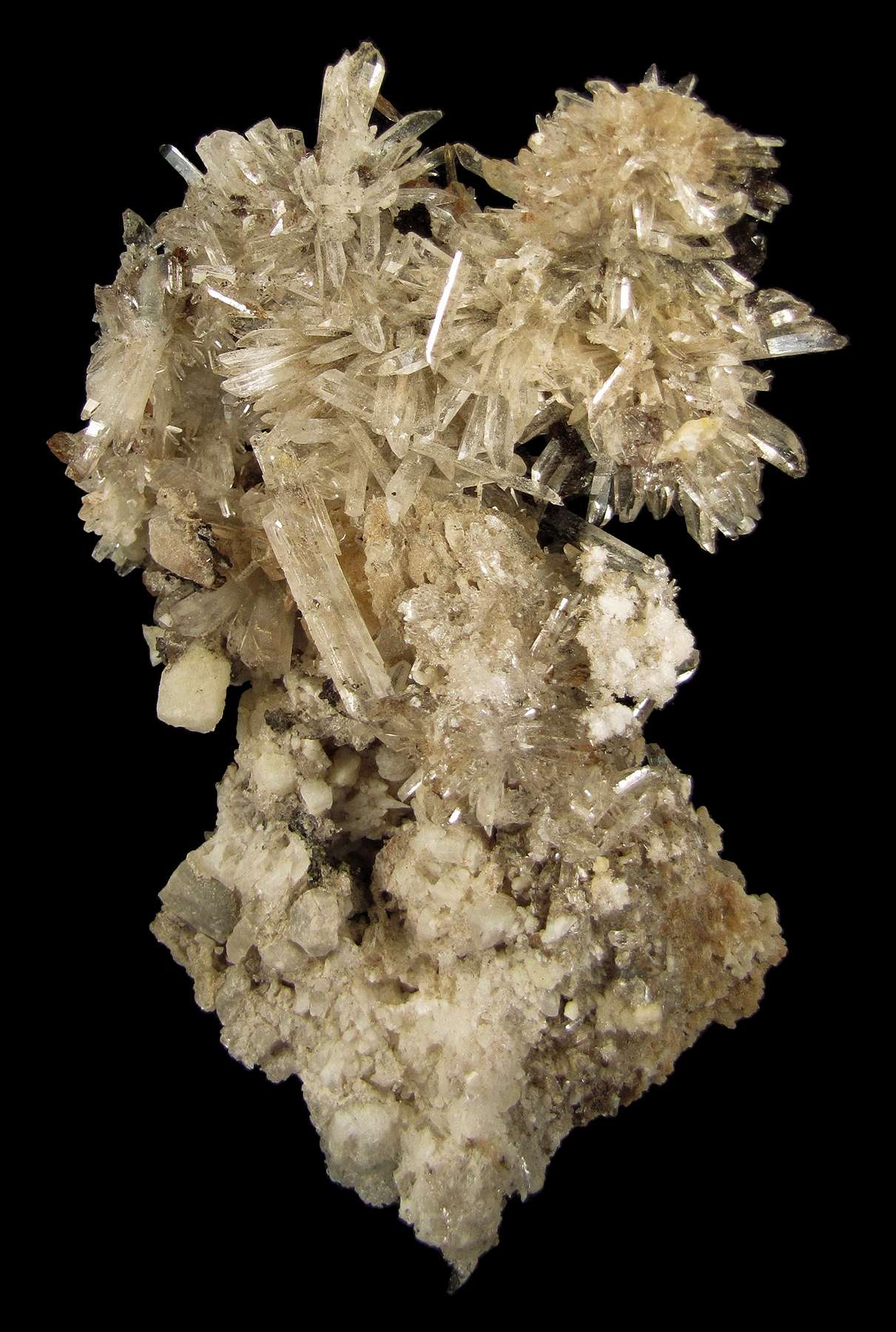 Bright glassy gemmy colorless crystals creedite 2 0 cm length abound