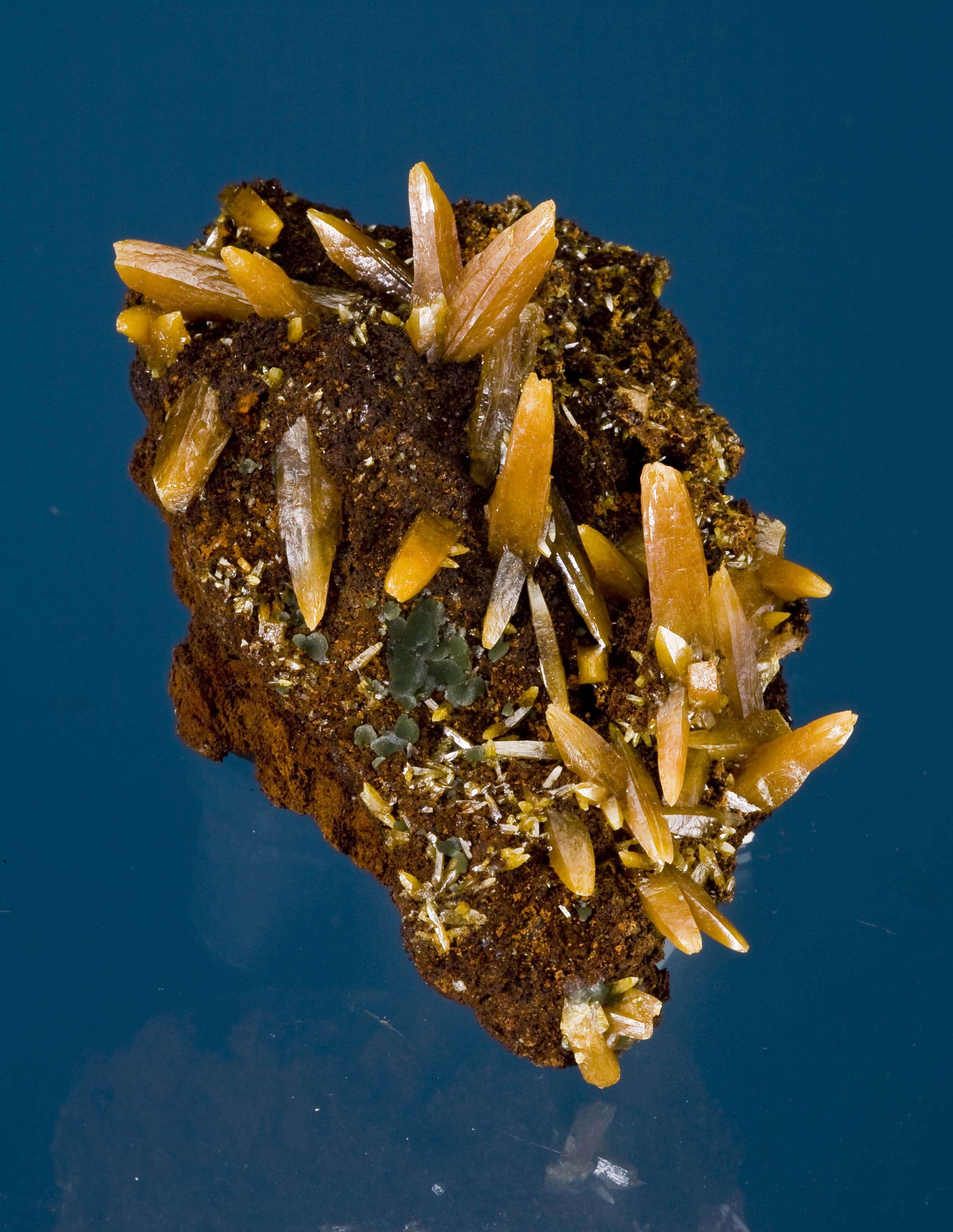 Emplaced ocherous limonite striking pincushion cluster lustrous