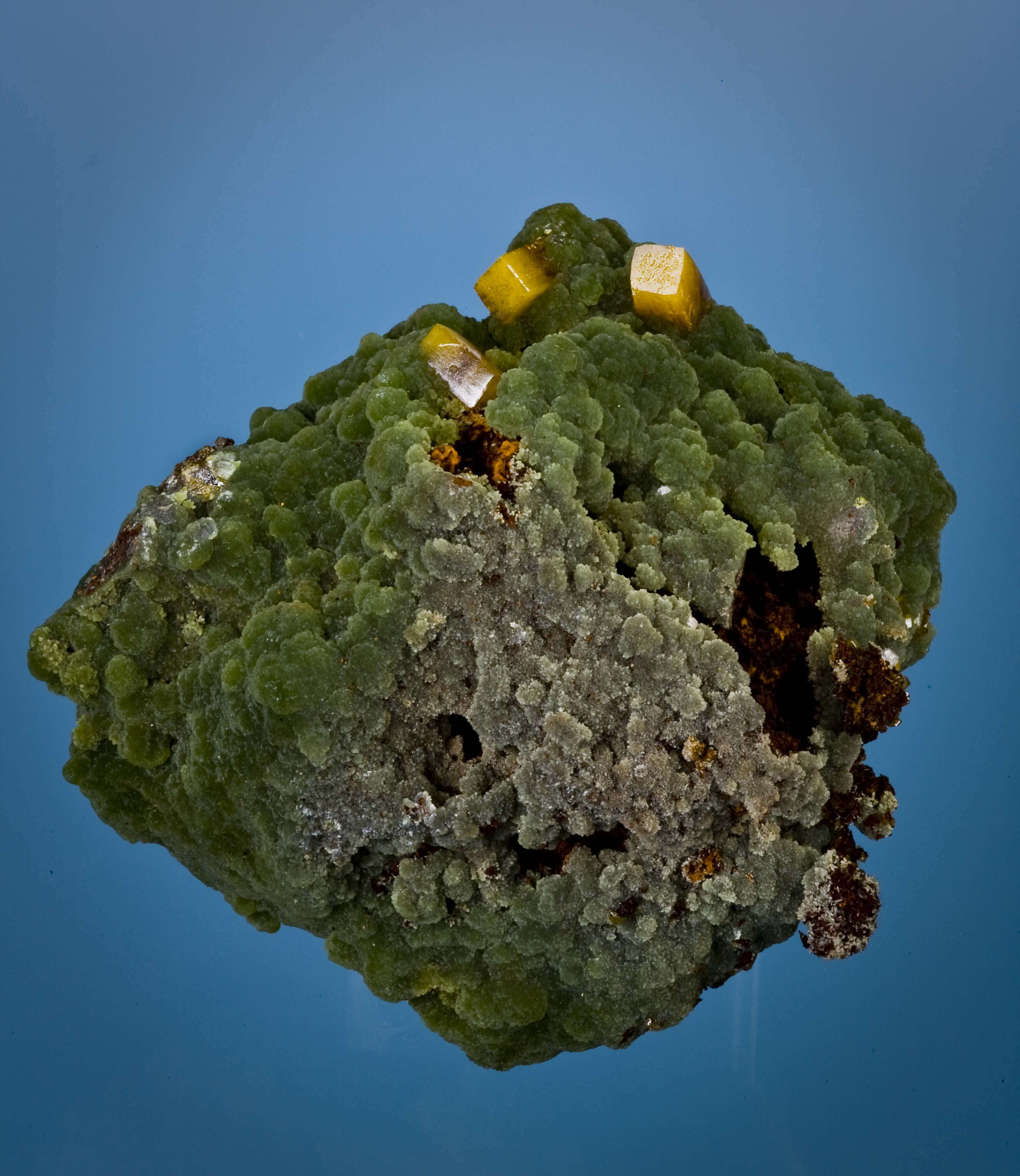 A 3 dimensional crust silky rich green mimetite 6 cm completely covers