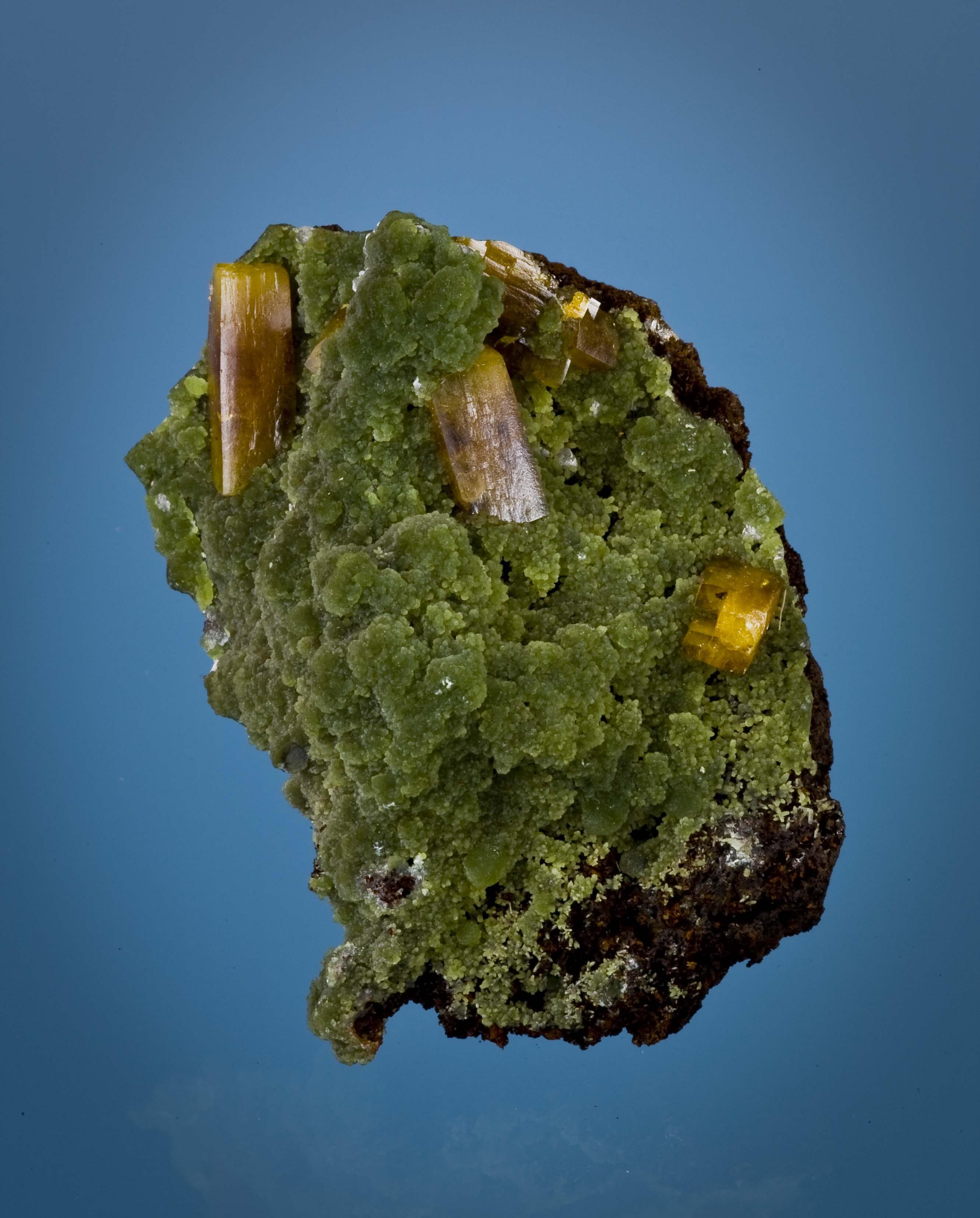 A verdant hillside lustrous rich green mimetite surmounted elongated