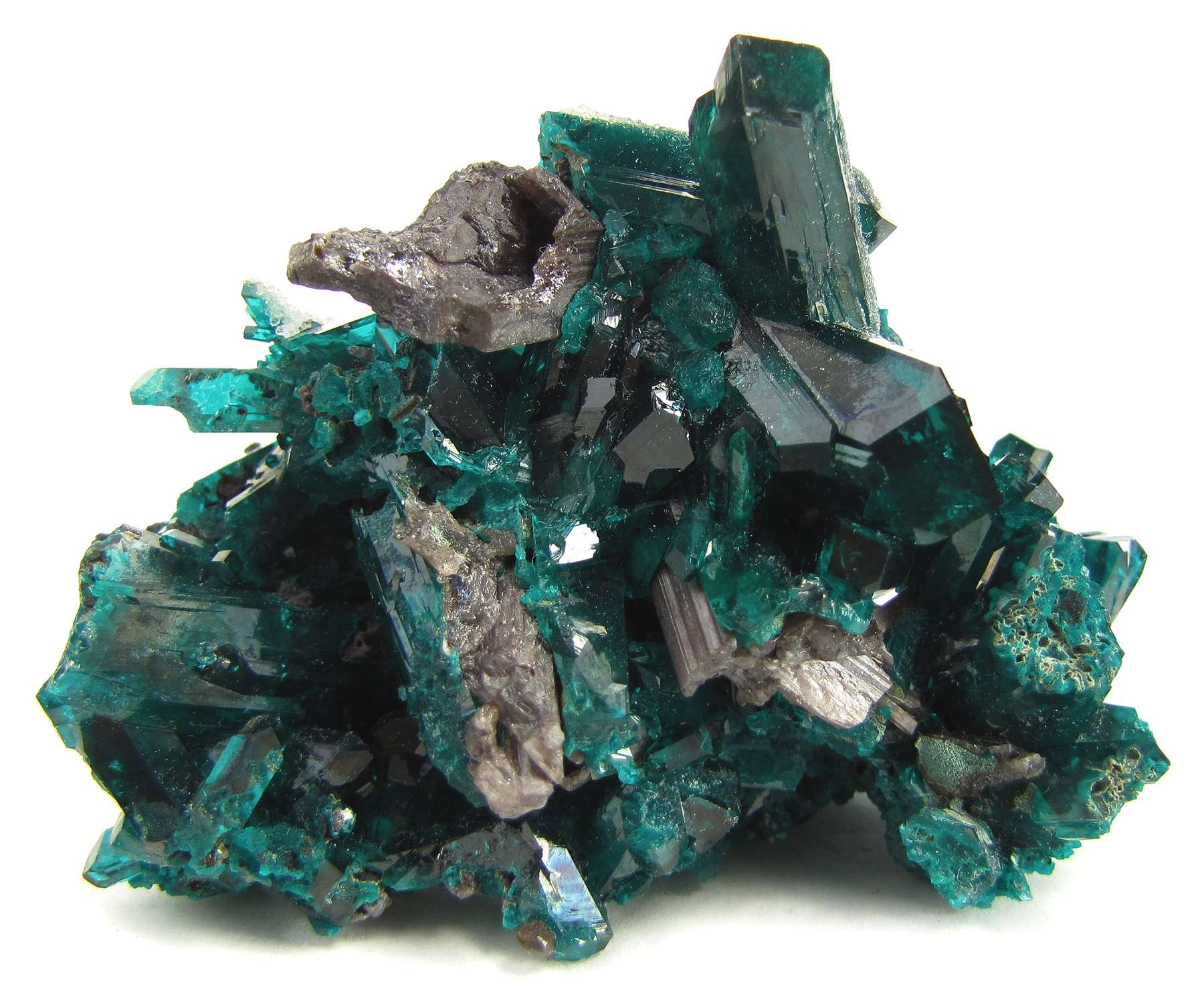 This colorful cluster nearly massive dioptase admixed cerussite From