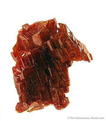 This gemmy lustrous electrically red hoppered vanadinite specimen