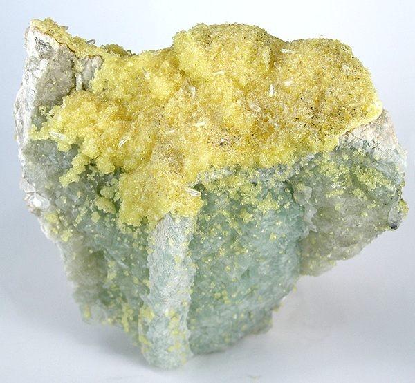 BEAUTIFUL lemon yellow ettringite crystals draped matrix beautiful