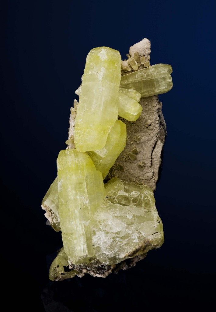 Small cabinet Three major crystals dominate matrix plate hausmannite