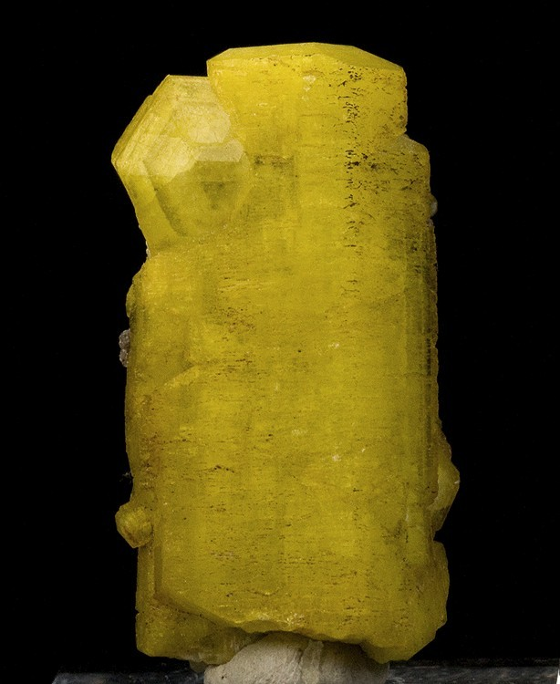 A large sharp nicely terminated Sulfur yellow ettringite crystal N