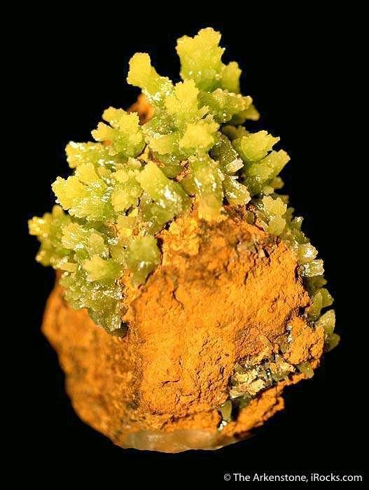 NEON green crystal groups aesthetically arranged limonite matrix