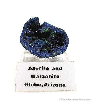 A UNIQUE SPECIMEN better perosn shot angle This azurite geode cavity