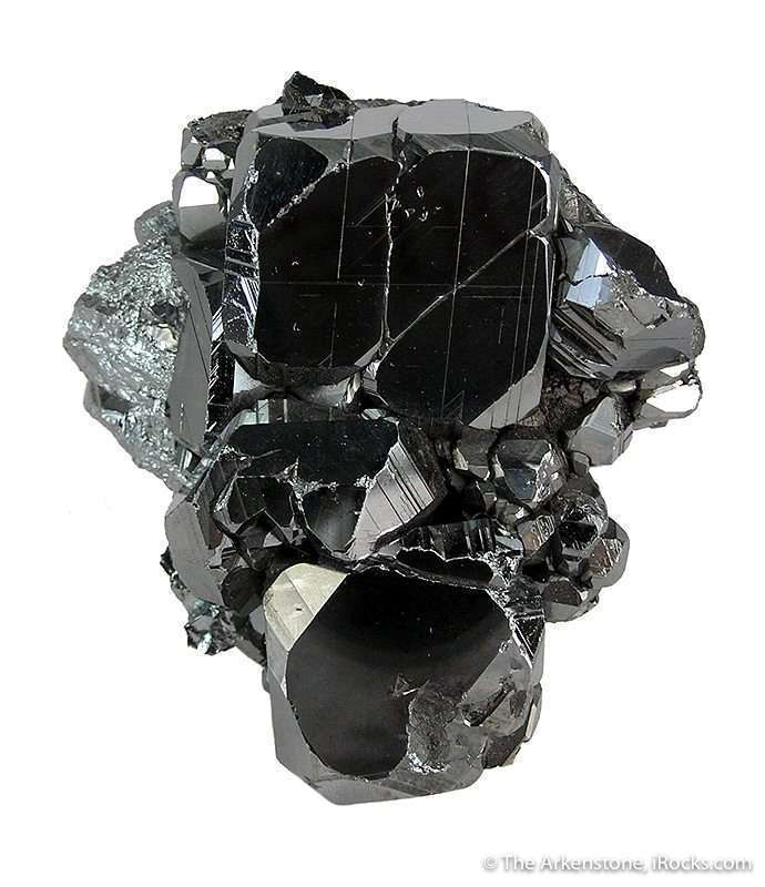 Complexly terminated crystals hematite 2 6cm massive hematite matrix