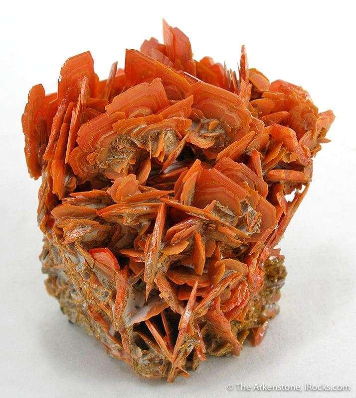A rosette arrangement orange red crystals cm terminations compact