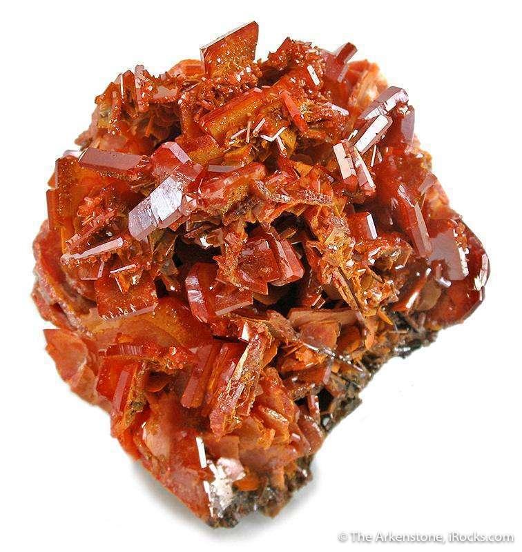 A beautiful miniature 3 generations wulfenite red orange big small