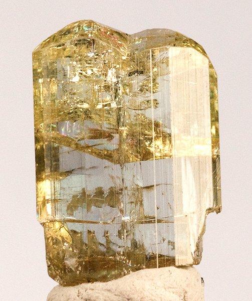 A rare gemmy lustrous yellow tanzanite crystal thumbnail Merelani