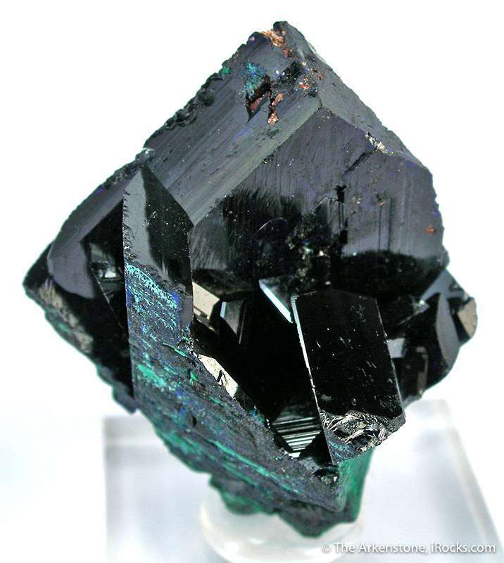 A sharp robust crystal sidecars showing slight alteration malachite