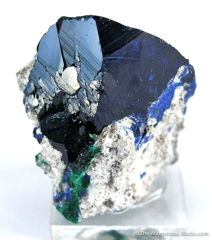 This starkly isolated blue azurite crystal measures inch perched rare