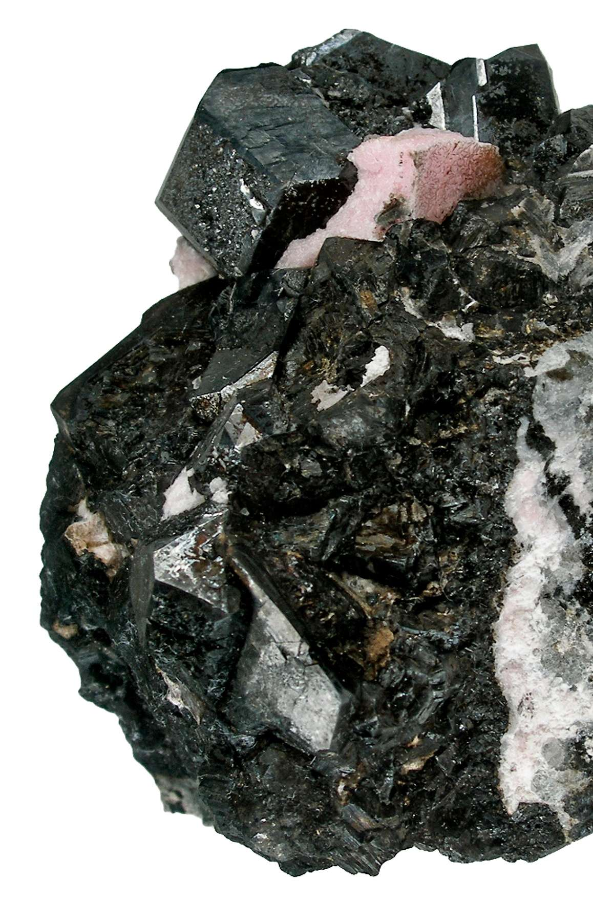 A single sharp crystal 1 9 cm perched atop massive alabandite accented