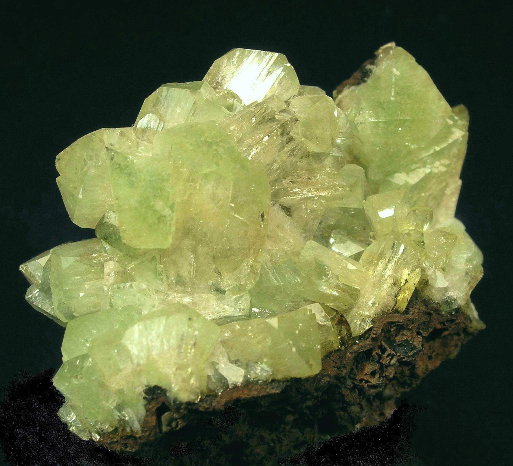 Superb specimen light mint green Cuprian Adamite crystals 1 cm size