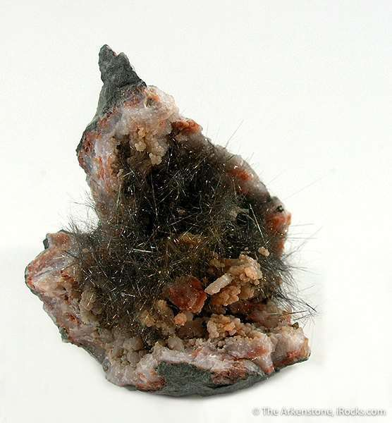 This rich example millerite nestled protected cavity quartz geode This